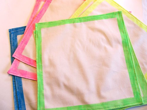 Neon dip-dyed napkins