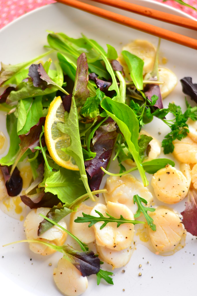 Dashi poached scallop salad with wasabi dressing