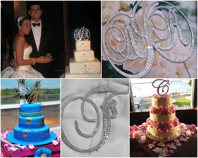 Custom Swarovski crystal cake-topper monograms available at Bridal Styles Boutique