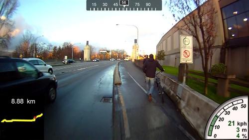 Walking bikes in bike lane
