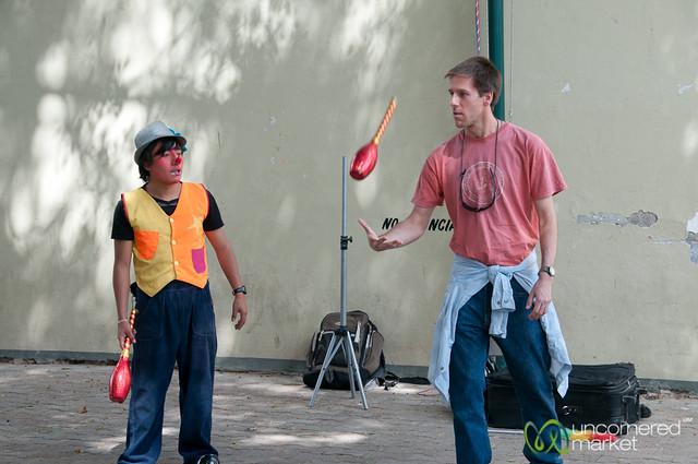 Dan Learns Juggling Skills at Tlacolula Sunday Market - Mexico