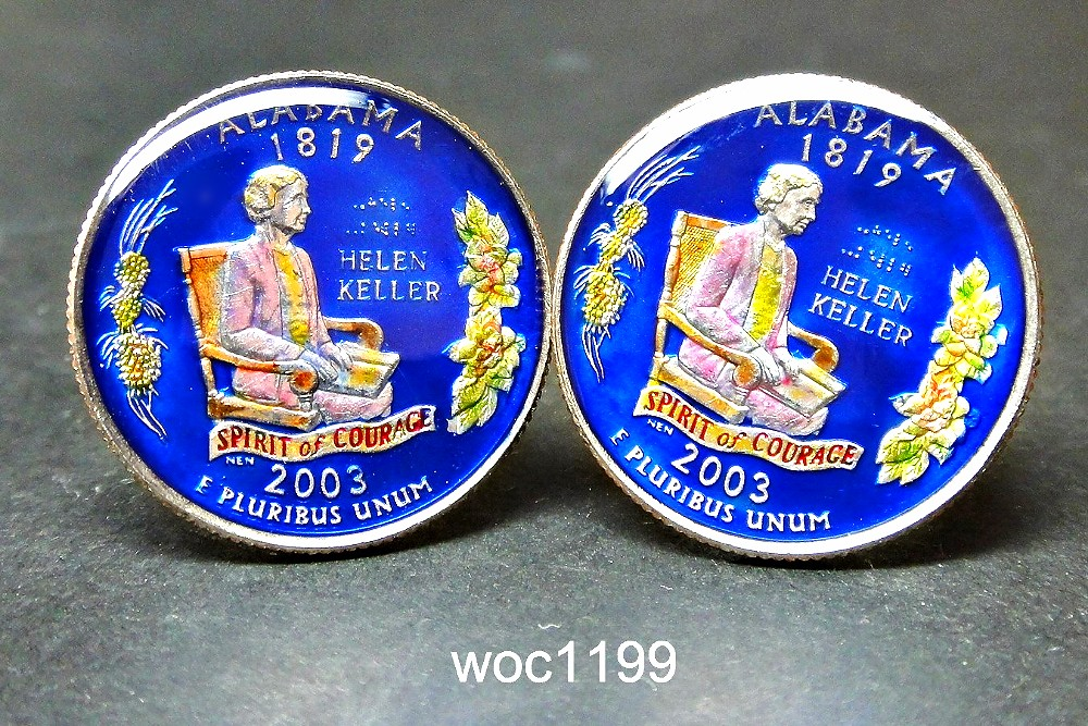 woc1199 USA enamelled coin cufflinks