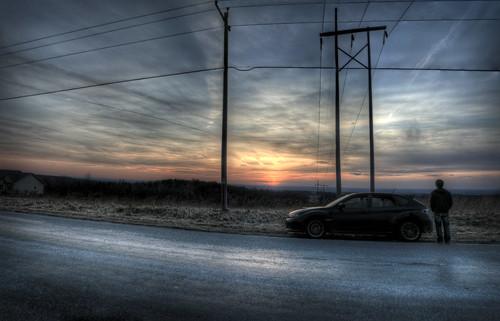 road street sunset sky panorama sun black car clouds person power pano pole powerlines subaru setting wrx hdr asphault sportscar highvoltage subaruwrx rallycar 2011subaruwrx