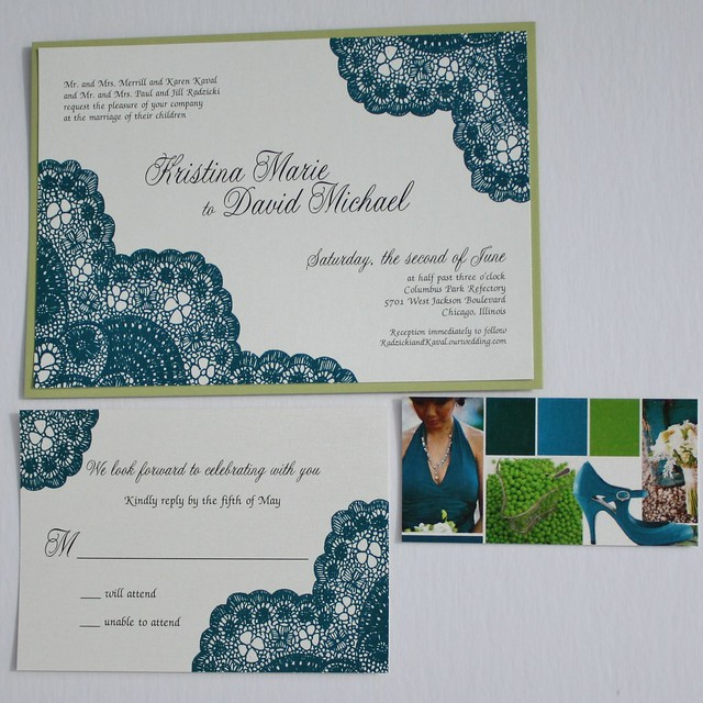 Teal and Chartreuse Vintage Antique Lace Wedding Invitation Set