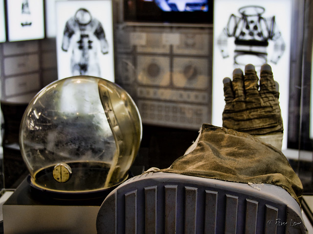 Columbia Memorial Space Center Suited for Space exhibit helmet and boots