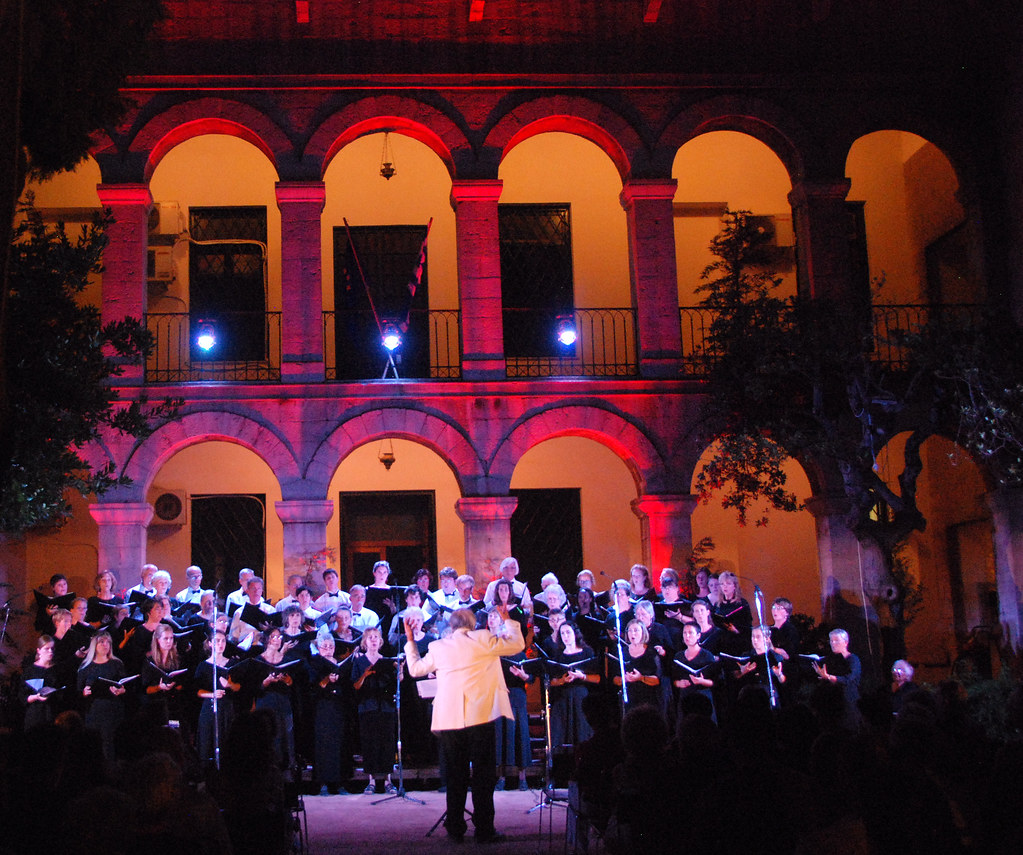 Rachmaninoff Choir performs in the Byzatine Museum grounds in Athens, Greece