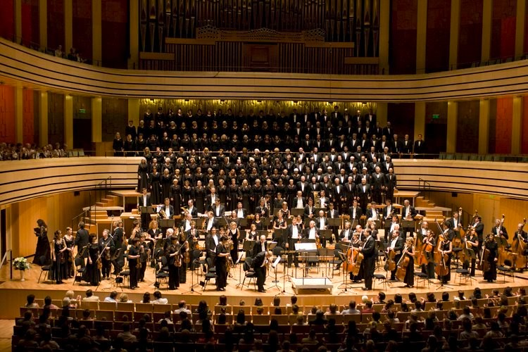 Coloroado Symphony Chorus performs with the MAV Orchestra in the Bela Bartok National Concert Hall in Budapest, Hungary