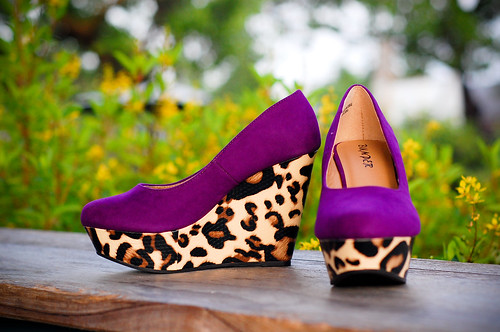 Evelyn Leopard Purple Wedges
