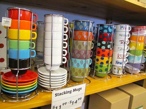 colorful stacking mugs