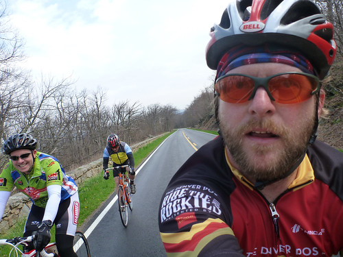 Lukas, Paul, and Jared pedal happily along Skyline Drive