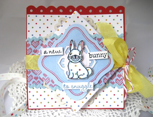 New bunny to snuggle diamond fold