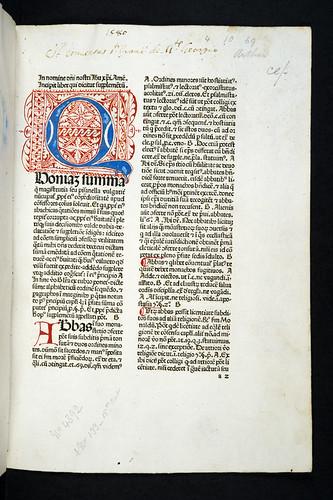 Penwork initial and monastic ownership inscription in Nicolaus de Ausmo: Supplementum Summae Pisanellae