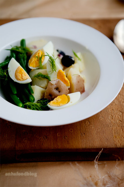 Classic lunch dish - warm potato salad...