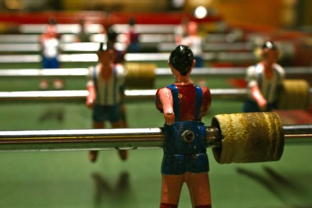 Baby foot aux couleurs du Barça dans le musée d'Histoire de Catalogne à Barcelone.