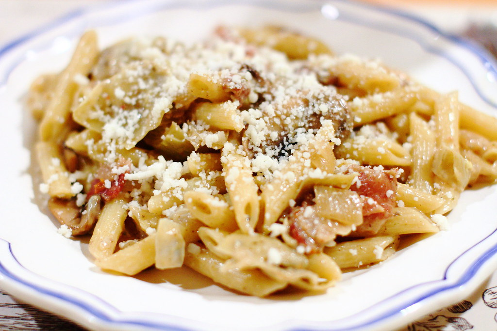 Sunday Dinner: Penne with Artichokes, Mushrooms, and Panchetta