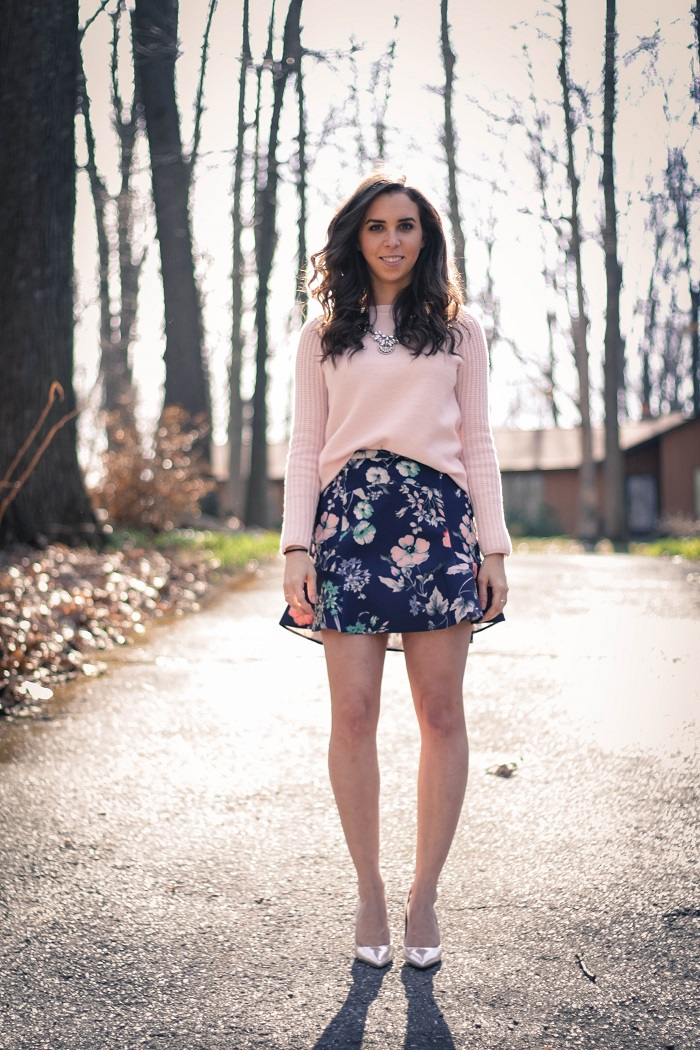 va darling. dc fashion blogger. personal style blogger. virginia personal style blogger. zara floral skirt. pink wool gap sweater. jcrew metallic pumps. baublebar silver  necklace. 2