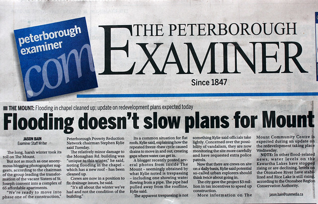 Peterborough Examiner Article: Floodung doesn't slow plans for Mount
