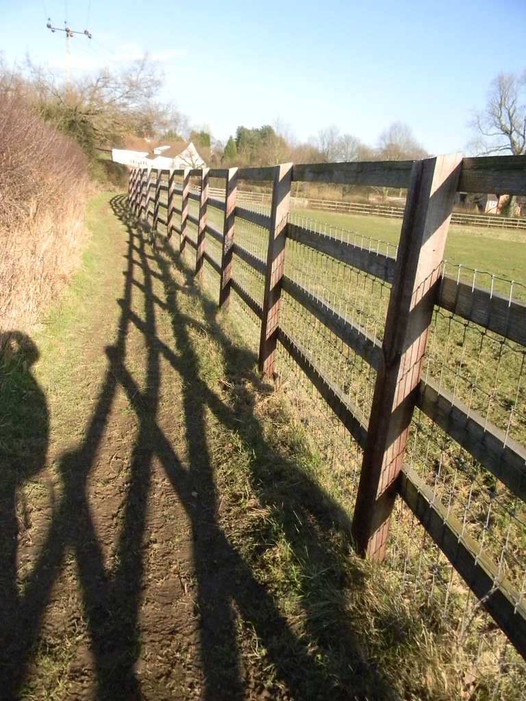 Fence and shadow Chesham to Great Missenden