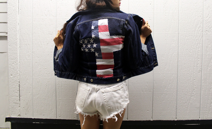 Vintage jean jacket with American Flag Cross Patch