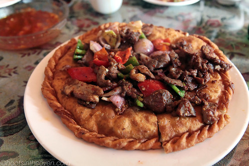 """Uighur Pizza"" - fried flatbread stuffed and topped with mutton"