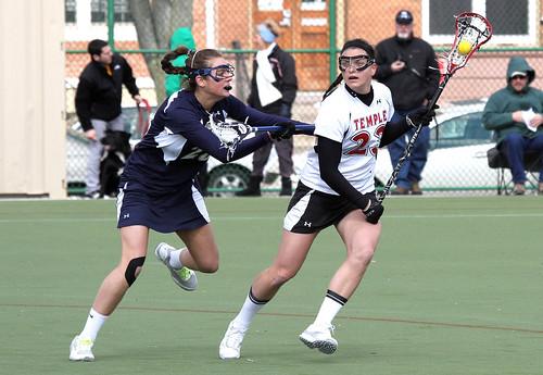 Temple's #23 Senior Midfielder Kelsey Zenuk and Mount Saint Mary's #28 Freshman Attacker/Midfielder Erin Seipp
