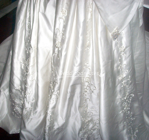 White A Line Strapless Sweetheart Beaded Embroidery Chapel Train Satin