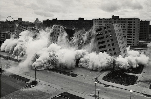 demolition of Pruitt-Igoe (photo by St Louis Post-Dispatch & State Historical Society of MO, press image for The Pruitt-Igoe Myth)