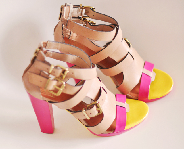 neon yellow pink  shoes  diy