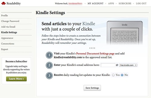 PC Readability Kindle Setting