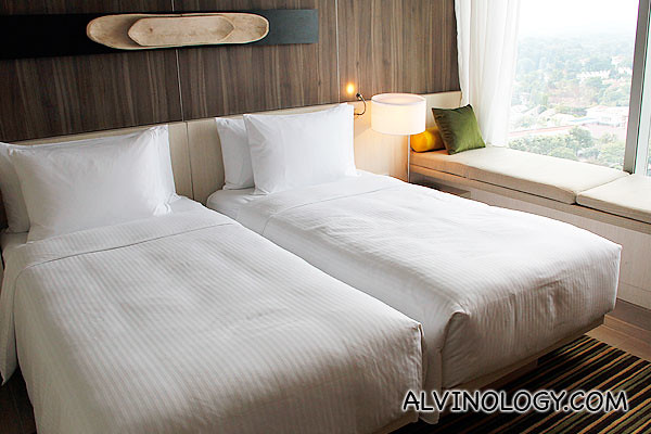 One of the standard room with double single bed