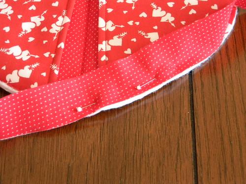 Start stitching binding
