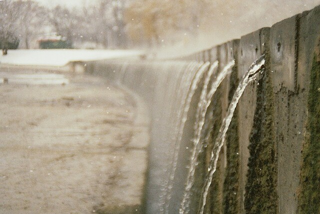 Budapest, city, streets, tour, trip, journey, Hungary,  snow, winter, spring, 35mm film photography,  Kodak MAX 400 expired, hot water flow, water drops, wintertime, park