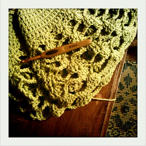crochet capelet in progress