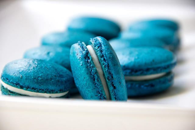 Blueberry French Macarons Filled with White Chocolate Coconut Ganache
