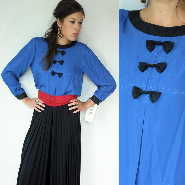 cobalt blue tuxedo bow tie blouse