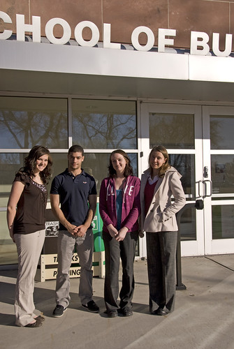 Courtesy Photo: Wall, Smith, Bateman, and Associates Inc. scholarship recipients include Adams State College accounting majors, left to right, Wendi Crowther, Joaquim Neto, Caitlin O'Neill, and Anke Spiegelhauer. Not picture, Amanda Head, Matthew Leach and Garrett Muchison