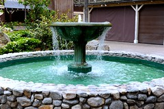 courtyard, backyard, garden, water feature, yard, landscaping, fountain,