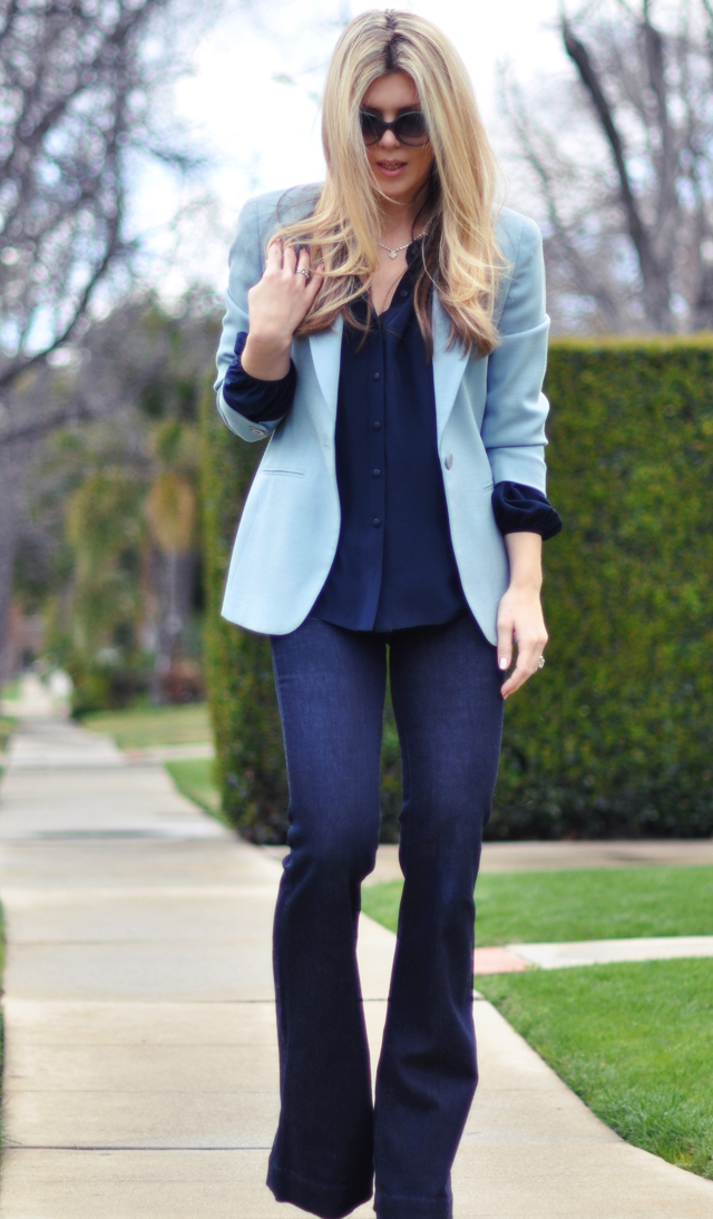 monochromatic outfit - blue on blue