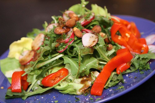 Butter Lettuce and Arugula Salad with Radishes, Roasted Red Pepper, Roasted Almonds, and Dill