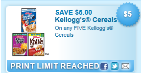 On Any Five Kelloggs Cereals Coupon