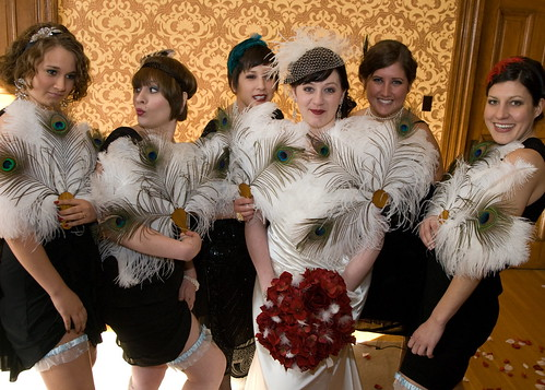 I asked all the bridesmaids to pic a flapper-style dress in black.