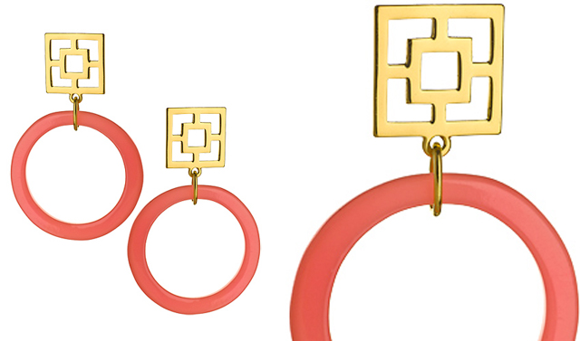 pink and gold drop hoop earrings
