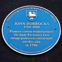 Photo of John Horrocks blue plaque