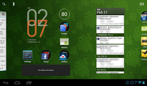 Android 4.0, Android ICS 4.0 Homescreen