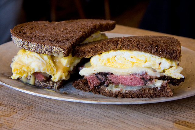 Little Shonda (pastrami, swiss cheese, eggs, durkee sauce, pickled green tomatoes), Court Street Grocers