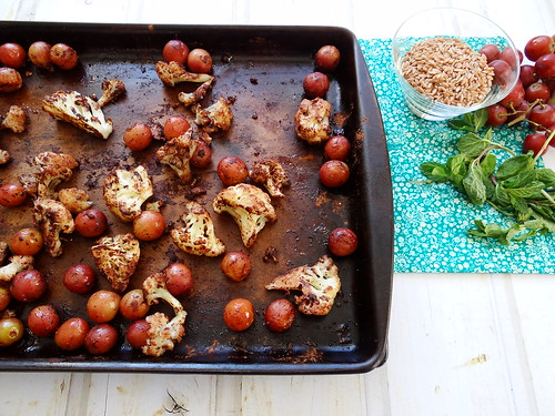 cocoa roasted cauliflower + grape farro