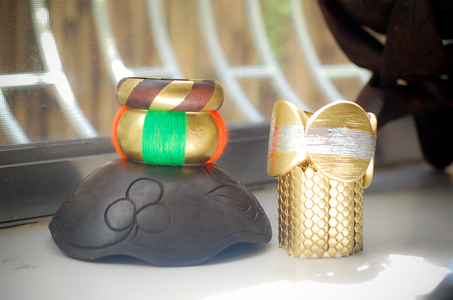 diy gold bangles and cuff,