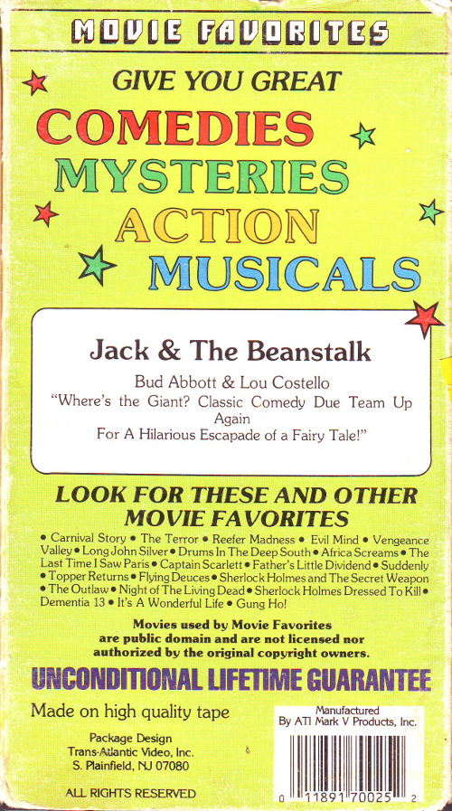 Jack and the Beanstalk Back