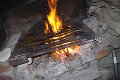 Fire, in ugly flash light