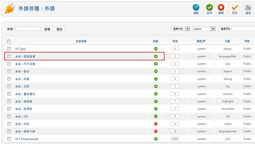 啟動 Joomla Language Filter